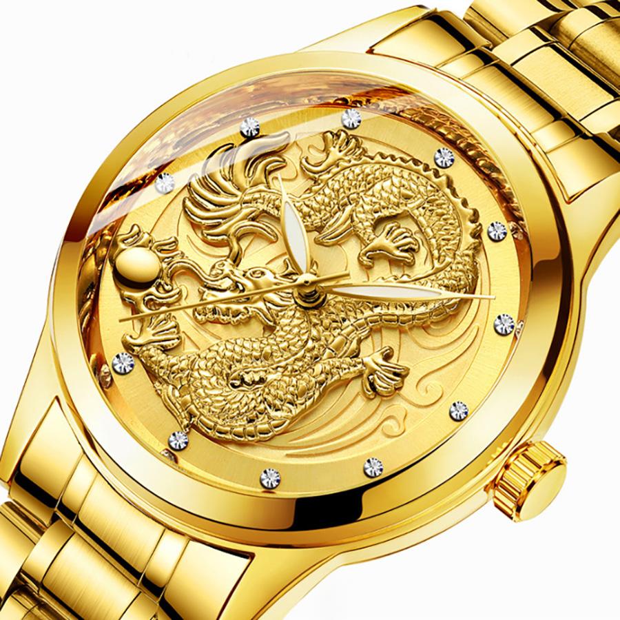 Đồng hồ nam cao cấp mặt rồng vàng DH03