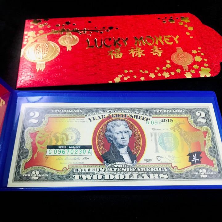 Tiền kỷ niệm 2 USD Hình Con Dê 2015, được in bằng lớp keo vàng phản quang, là quà tặng ý nghĩa, sang trọng, độc đáo - TMT Collection - SP000399
