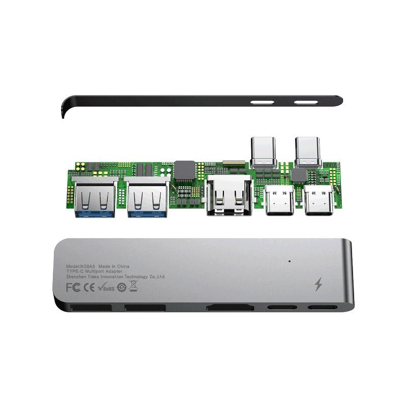 Bộ chuyển đổi Baseus Dual Type C  ra USB3.0/HDMI/Type-C - Hàng chính hãng (Gray)