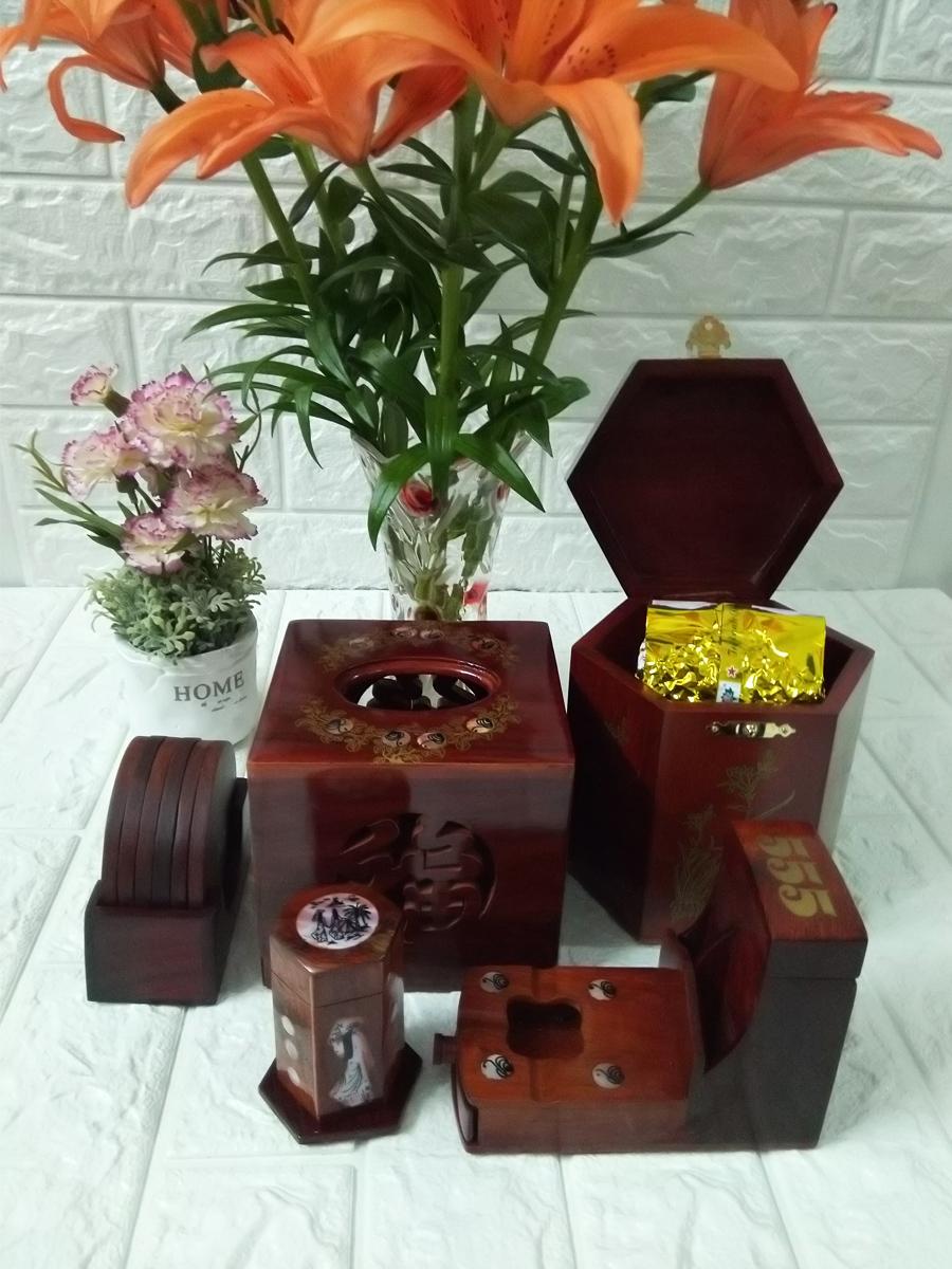 Bộ 5 món tiện ích gỗ hương ,Hộp Trà lớn,gạt tàn,hộp tăm,hộp giấy vuông, bộ lót ly 5MGV01