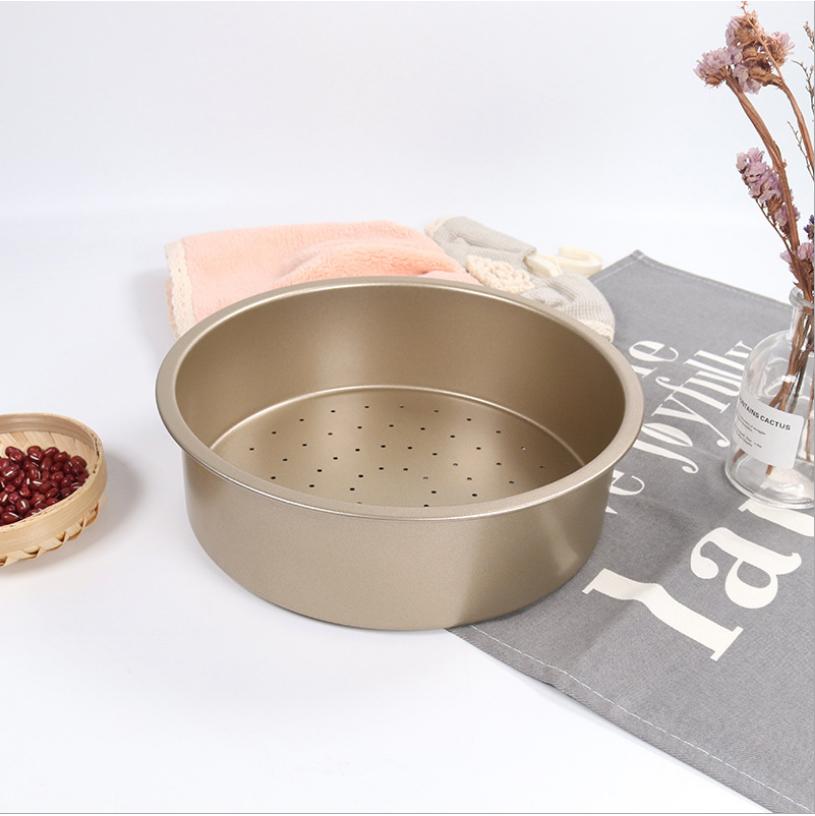 Khuôn Tròn Nướng Bánh Hợp Kim Đúc Đề Liền Chống Dính Có Lỗ 22cm