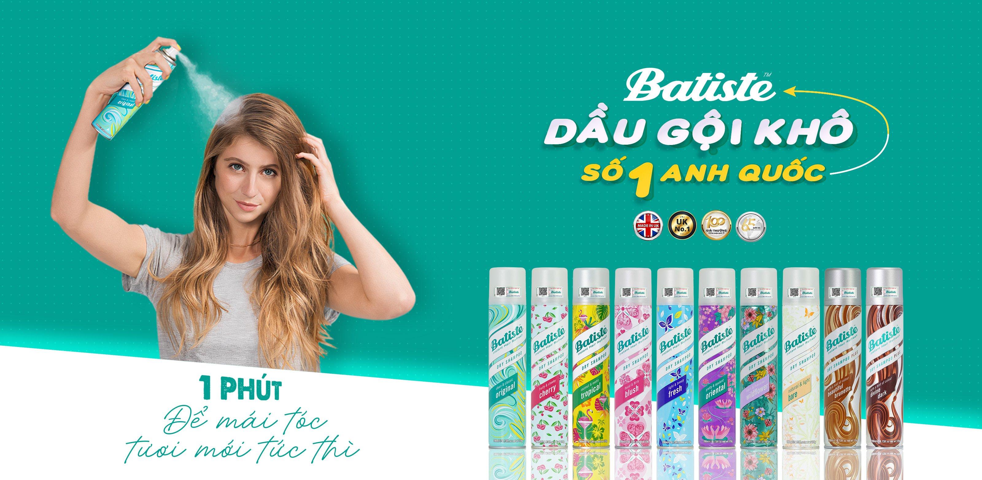 Dầu gội khô Batiste Dry Shampoo 200ml (Nhập khẩu)