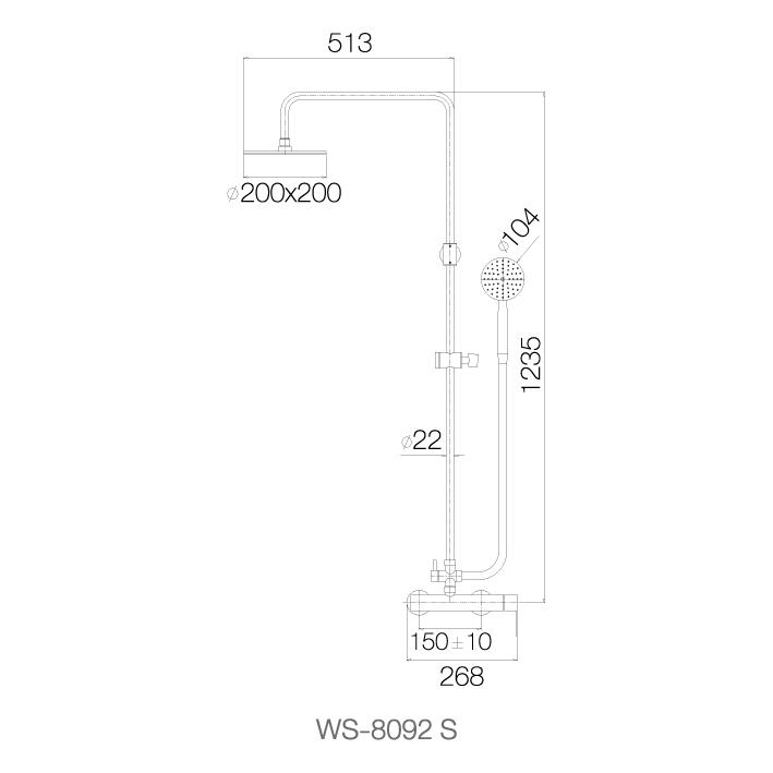 Bộ sen cây phun mưa nóng lạnh,bát sen vuông 8 WS-8092S - INOX SUS 304