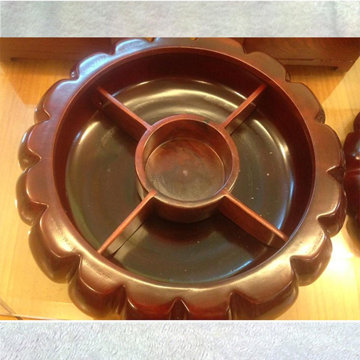 Khay đựng bánh kẹo quả bí gỗ hương loại to nguyên khối chia ngăn cao cấp LIGHT WOOD