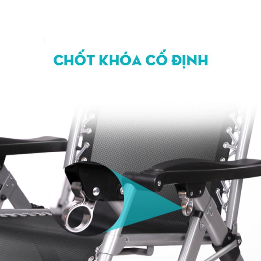 Ghế xếp thư giãn TV1M khung thép sơn tĩnh điện, chốt khóa bằng kim loại bền đẹp kèm đệm bông ấm áp, có khay để cốc và điện thoại tiện dụng