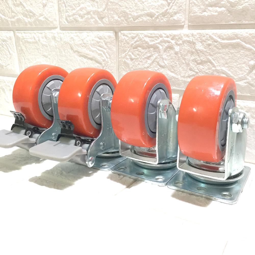 Combo 4 bánh xe đẩy hàng loại cao cấp chịu tải 250 kg, KT 75x32 mm - Di chuyển đa mặt sàn (2 bánh xoay và 2 bánh xoay có hãm)