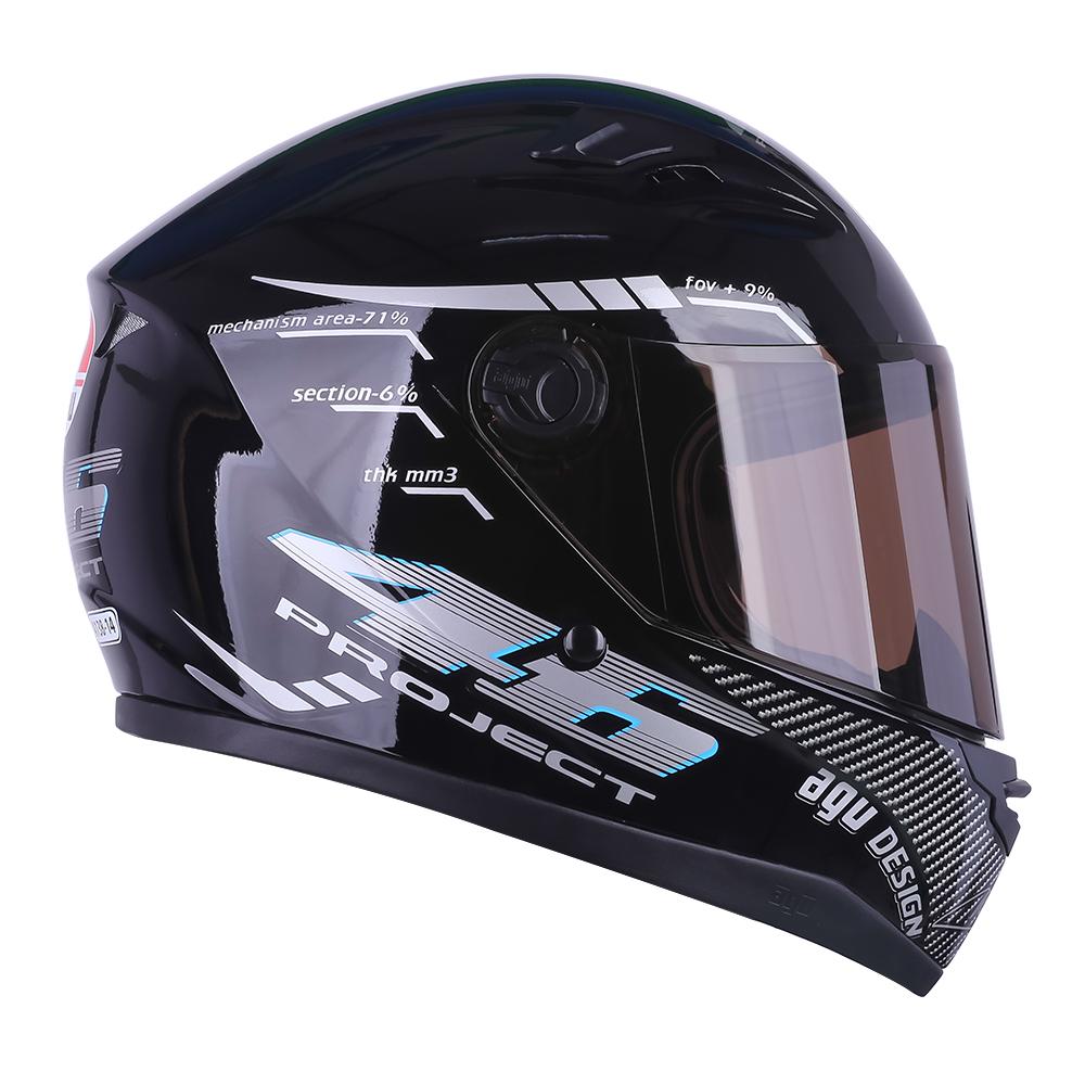 Combo nón fullface AGU tem 14 Bạc gắn sừng batman đen và đuôi gió (Kính Trà)