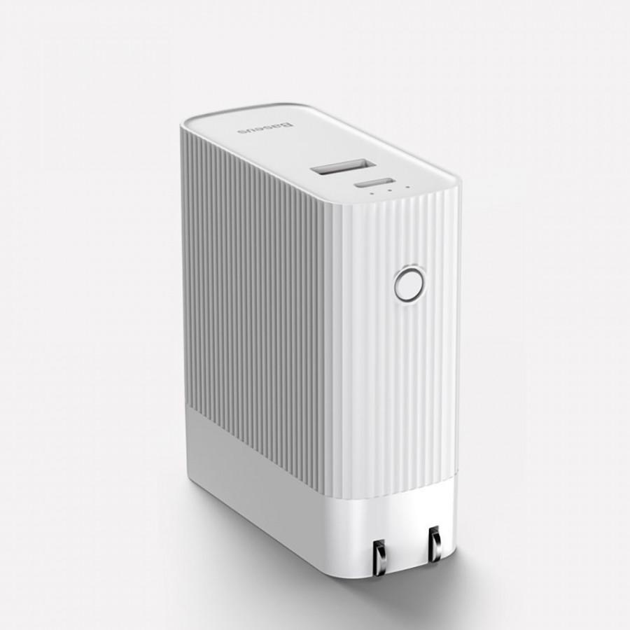Bộ cóc củ sạc nhanh tích hợp pin dự phòng 5000mAh hiệu Baseus Power station Travel Charger (15W, Type C PD 3.0/ USB, Quick charge 3.0) - Hàng chính hãng