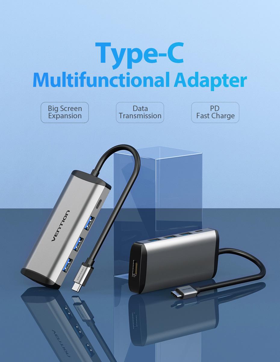Cáp chuyển USB - Type C to HDMI, 3 Port USB 3.0 hỗ trợ sạc USB C Vention - Hàng Chính Hãng