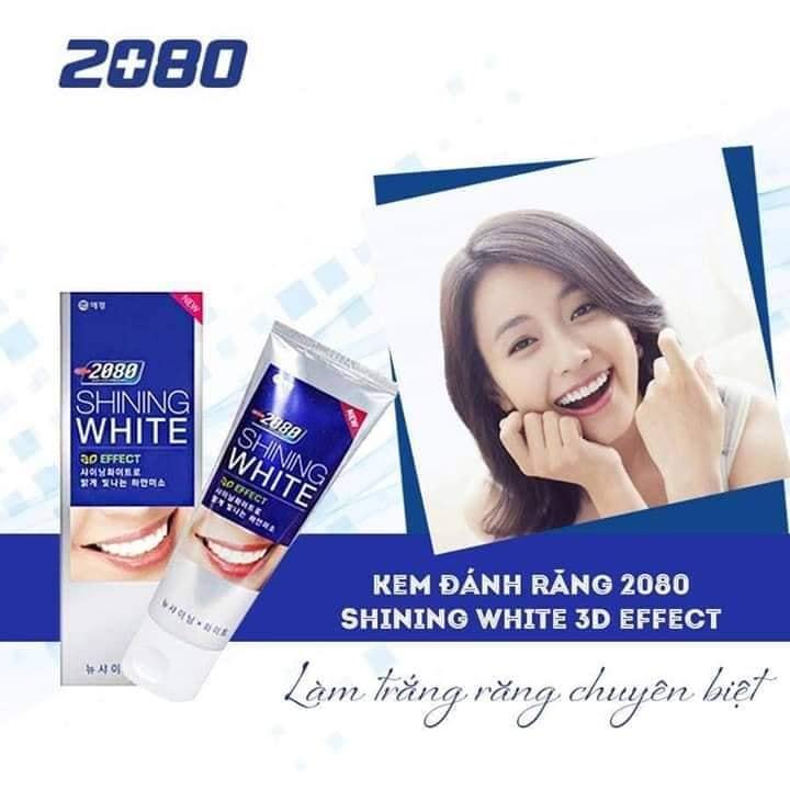 Kem đánh răng trắng răng 3D Shining White Effect Hàn Quốc 100g + Móc khoá