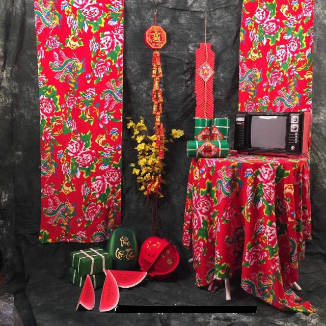Vải Chăn Con Công (màu đỏ) Dịp Tết Năm Mới Khổ 1,6m x 1m