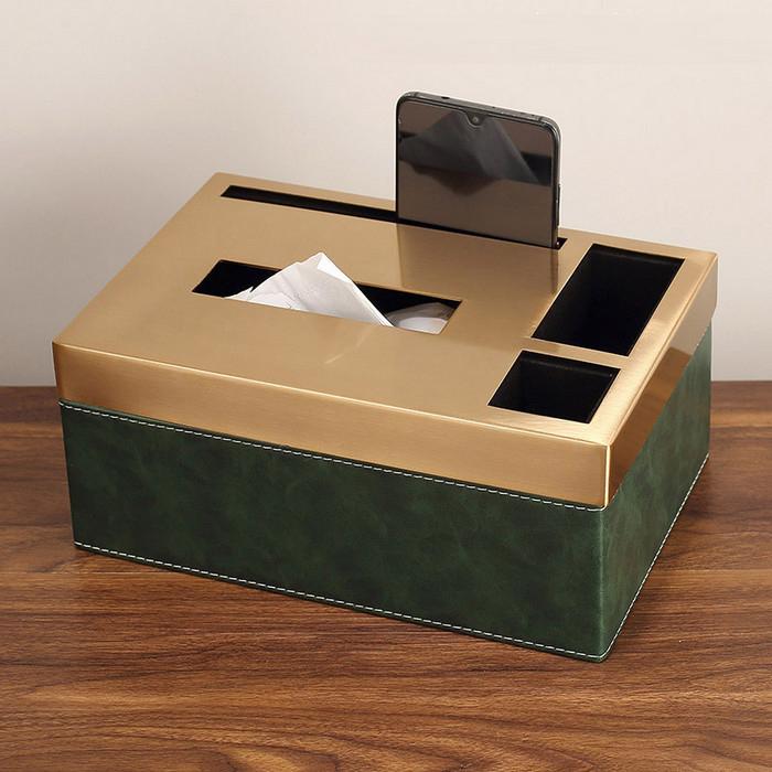 Decor- hộp đựng khăn giấy cao cấp 3 ngăn vàng xanh