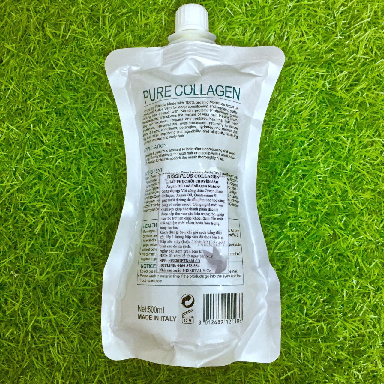 Dầu hấp ủ tóc Nissiplus Pure Collagen siêu mượt phục hồi tóc (dạng túi) Ý 500ml
