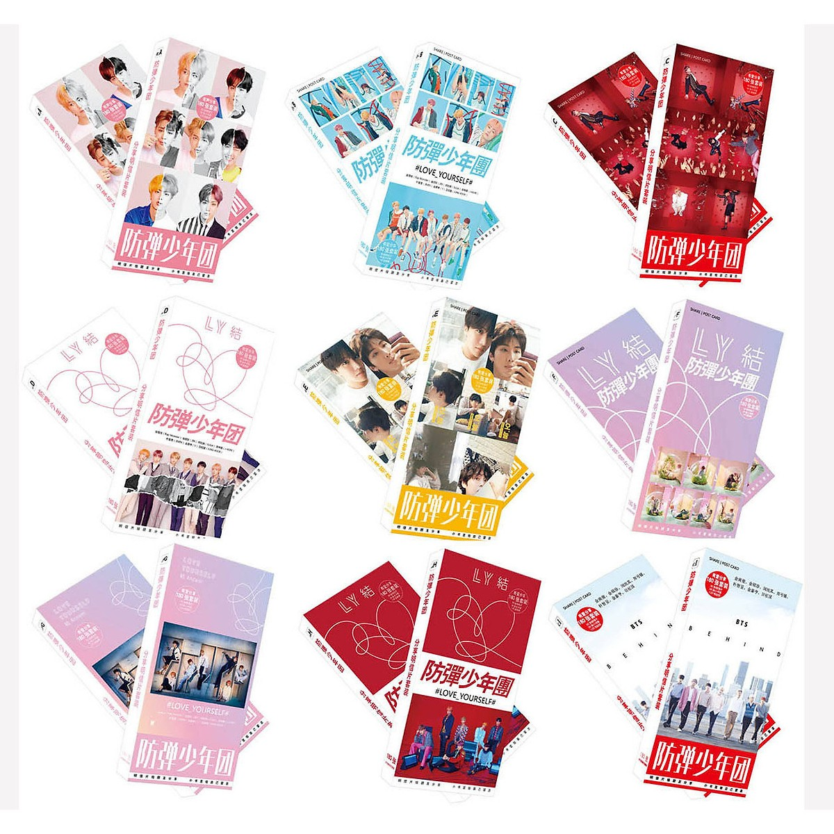 Combo 1 bộ postcard và 1 bộ bookmark BTS