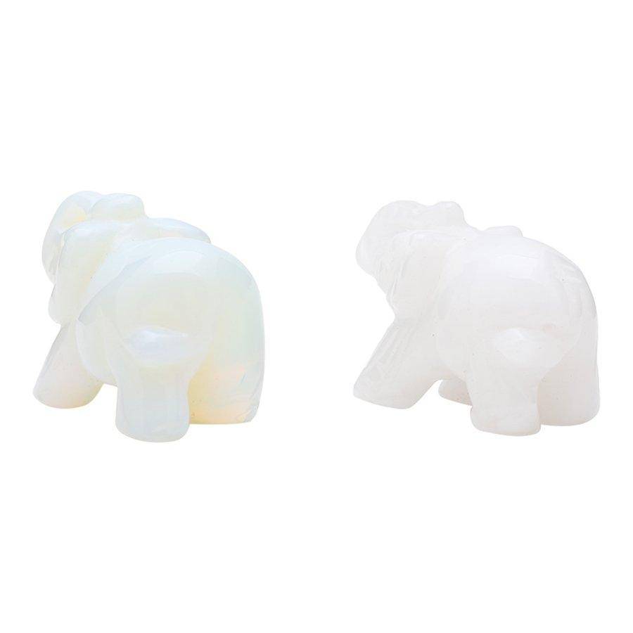 Cặp Voi Trưng Bày Bằng Đá Cẩm Thạch Trắng (5.2 x 3 cm)