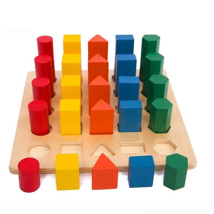 Bộ cảm giác quan hình học 5 hình giáo cụ Montessori