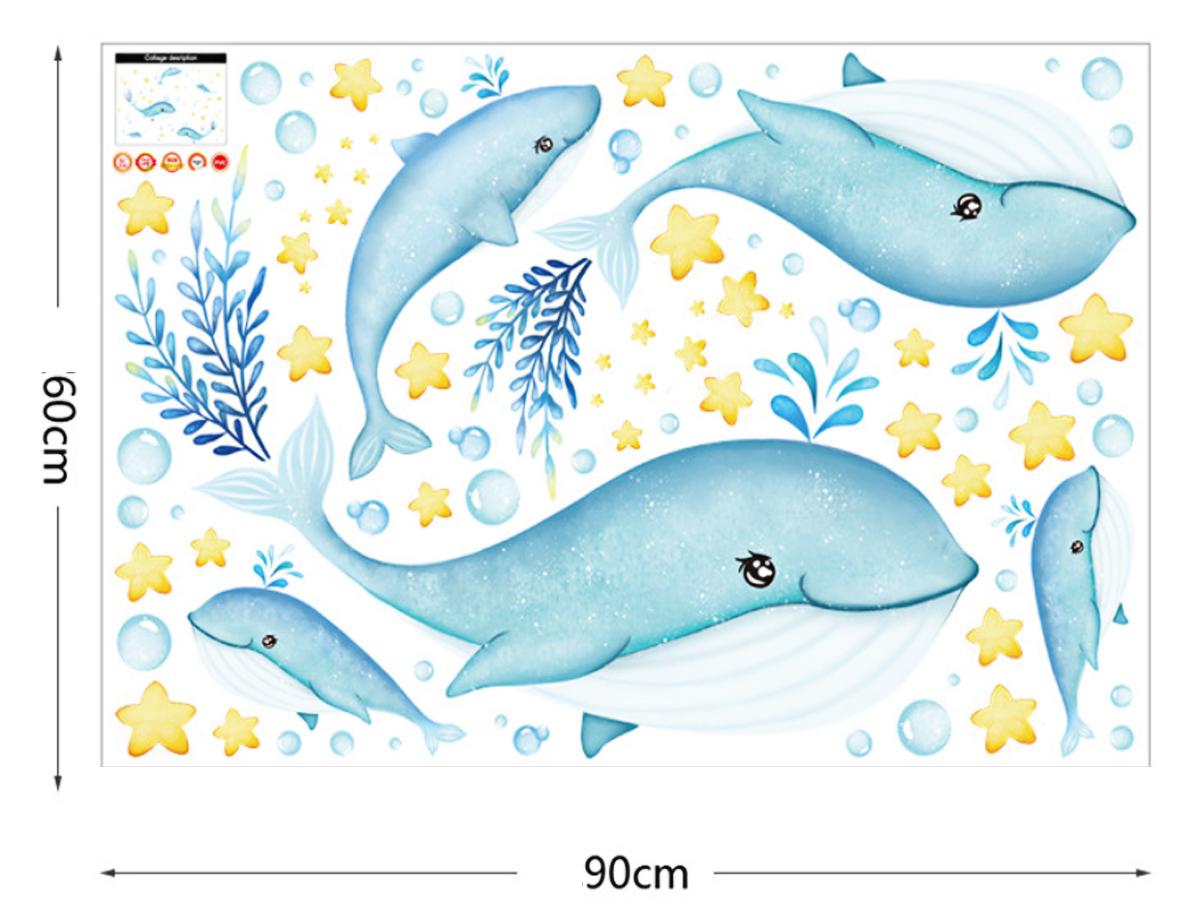 Decal hình Cá voi xanh ngộ nghĩnh cho bé
