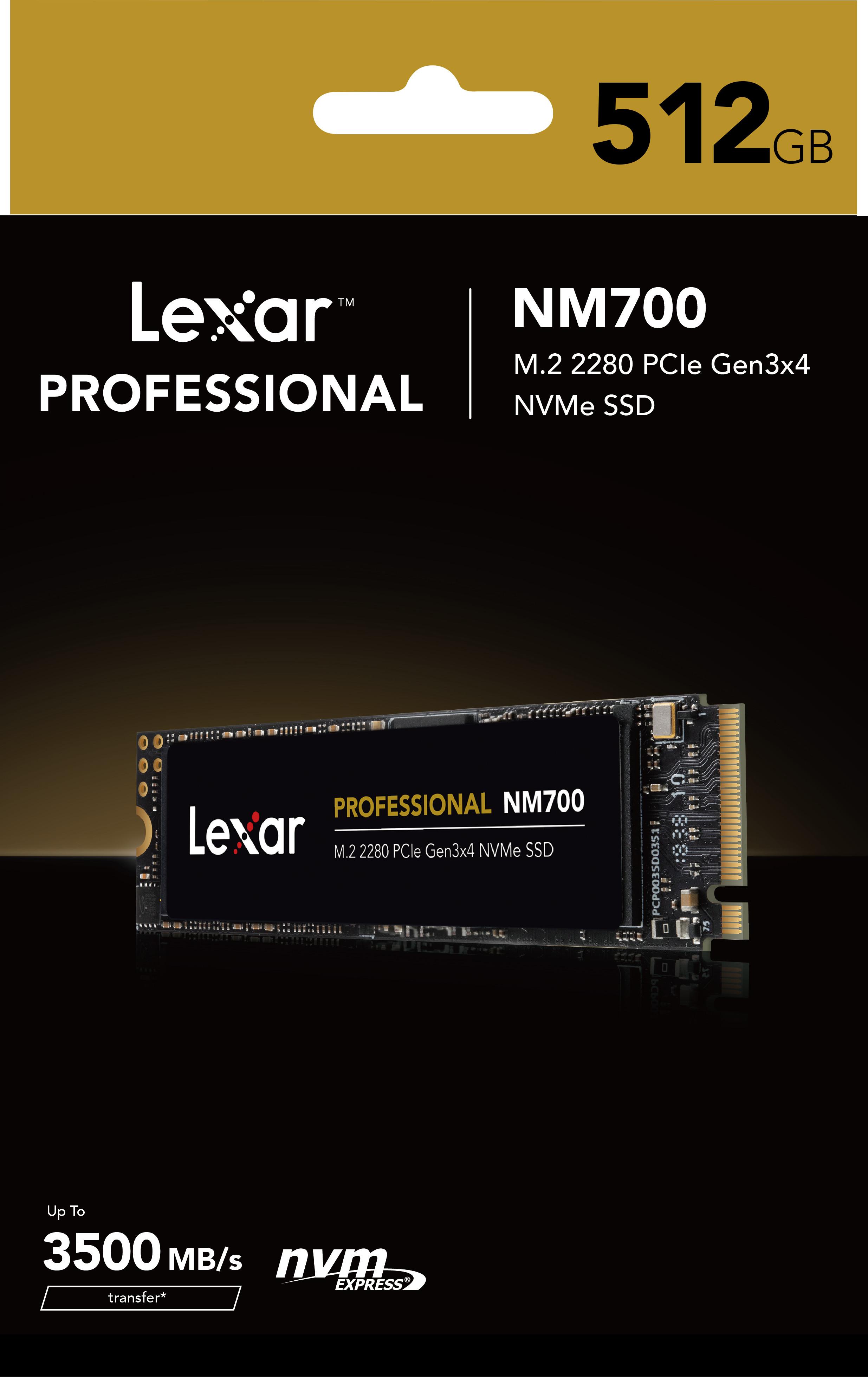 Ổ cứng SSD Lexar Professional NM700 512GB PCIe Gen3x4 M.2 2280 NVMe 3500MB/s - Hàng Chính Hãng