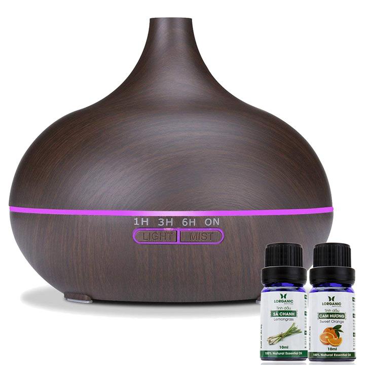 Máy khuếch tán tinh dầu giọt nước lớn gỗ nâu Lorganic FX2023 + tinh dầu sả chanh + tinh dầu cam Lorganic (10ml x2)/ Phun sương sóng siêu âm.