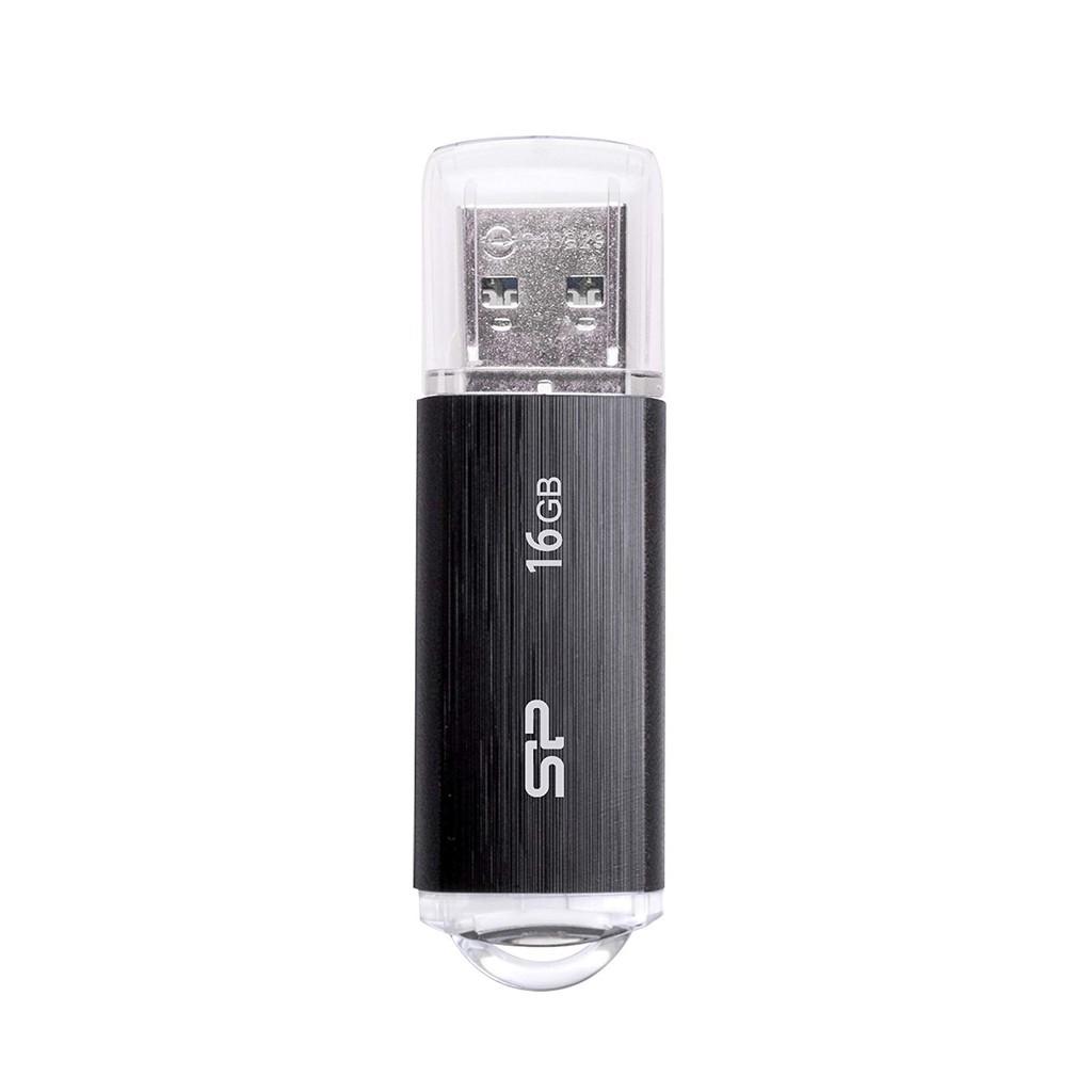 USB 2.0 16GB Silicon Power U02  tốc độ chuẩn (Đen) - Hàng Chính Hãng