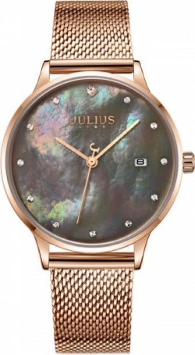 Đồng hồ nữ JS-004C Julius Star Hàn Quốc mặt xà cừ (Đồng mặt xám)