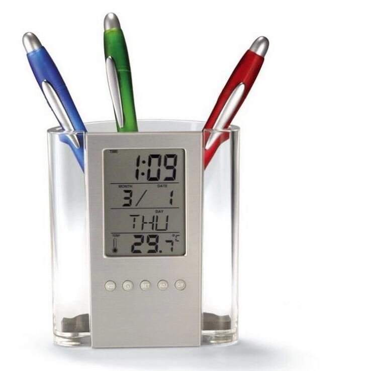 Hộp đựng bút kiêm đồng hồ để bàn V2 (Tặng kèm quạt mini cắm cổng USB vỏ nhựa giao màu ngẫu nhiên)