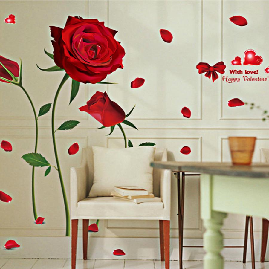 Decal dán tường trang trí phòng khách, phòng cưới-Hoa hồng đỏ 3 bông-mã sp XL8178