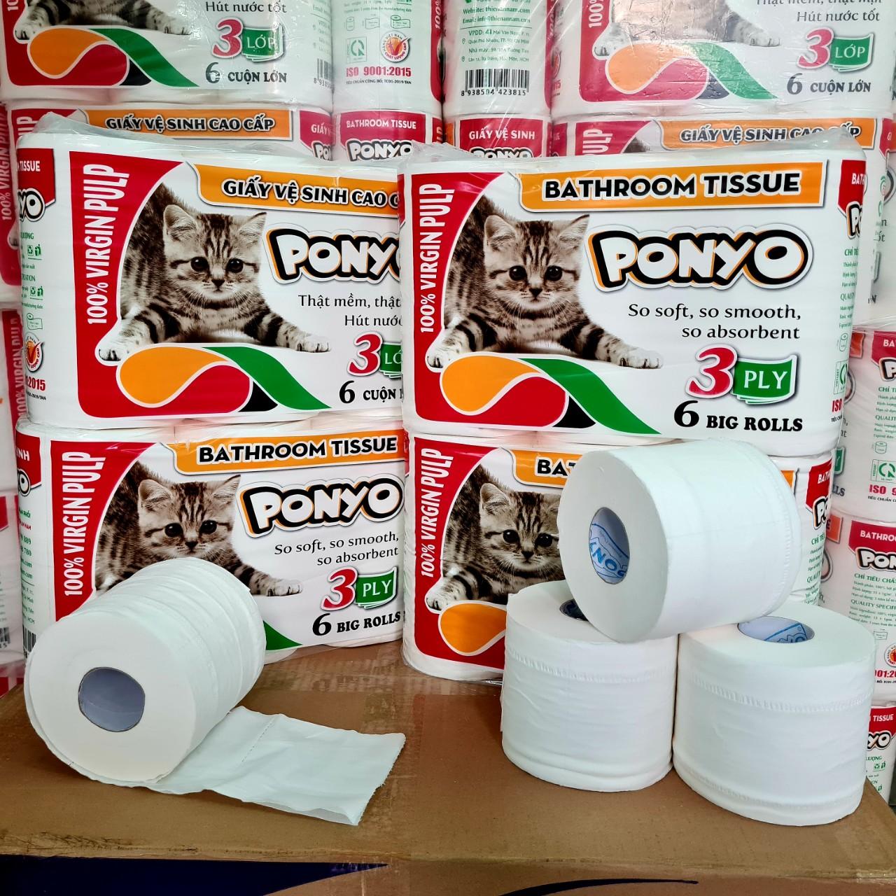Combo (4 lốc) giấy vệ sinh cao cấp PONYO mèo con, 3 lớp dày mềm mịn, gần 1kg/lốc (6 cuộn)