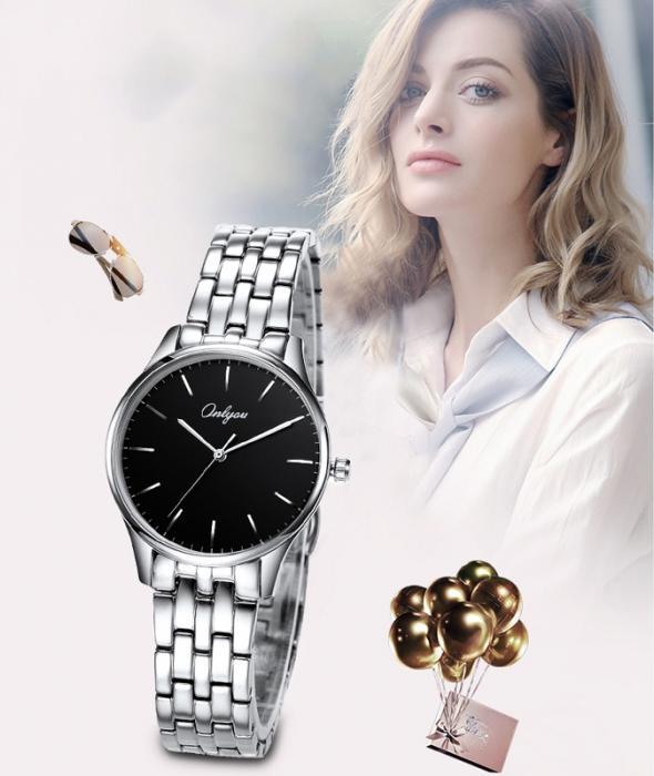 Đồng hồ Onlyou Nữ 83000LB Dây thép không gỉ 29mm