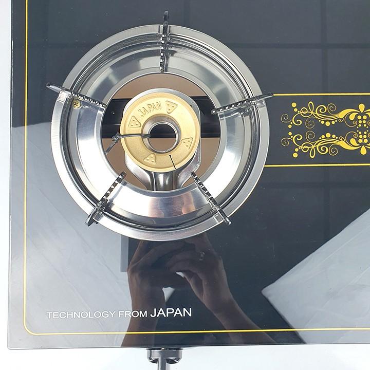 Bếp ga đôi Raiden đầu đốt đồng, mặt kính cường lực, hệ thống đánh lửa magneto-hàng chính hãng