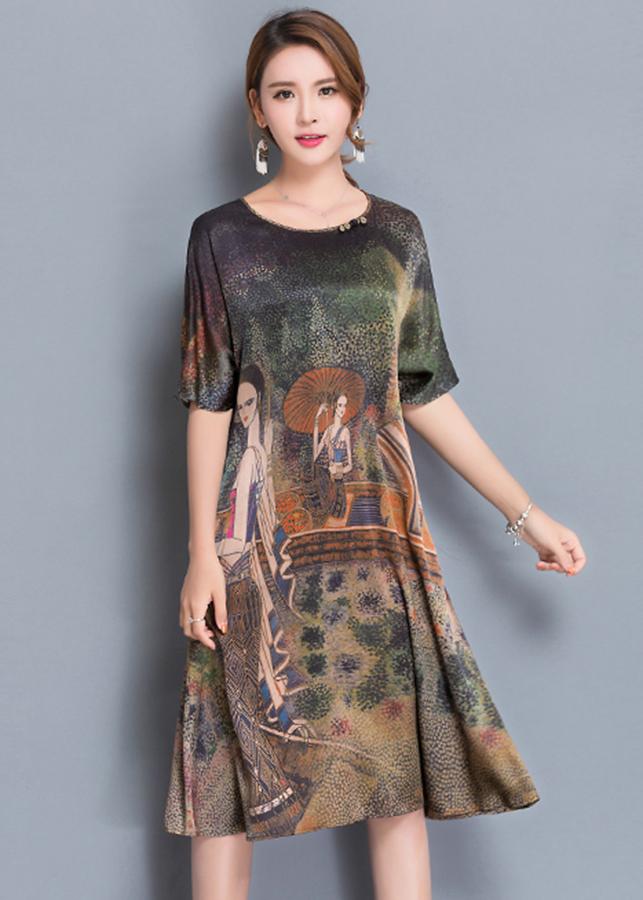 Đầm suông bigsize dạo phố kiểu đầm dáng suông in họa tiết cô gái cầm dù ROMI1639 - 3XL 70-75KG