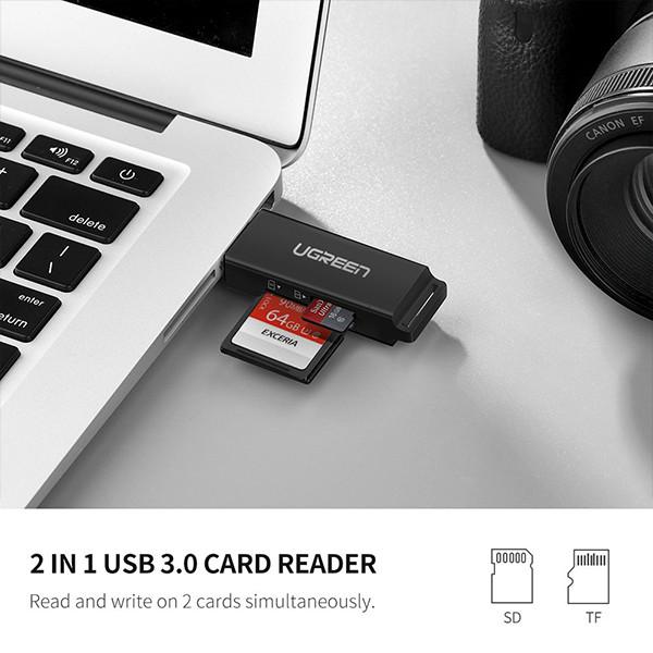 Đầu Đọc Thẻ Nhớ SD/TF USB 3.0 chính hãng Ugreen 40752