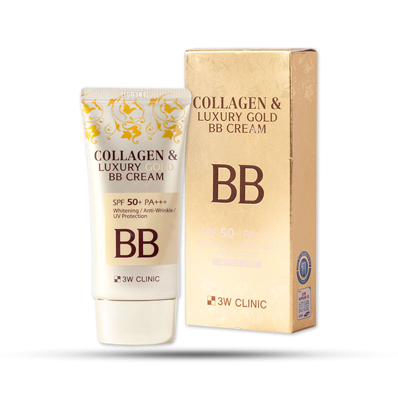 Kem nền trang điểm 3 trong 1 3W Clinic Collagen & Luxury Gold BB Cream SPF50+ PA+++ 50ml