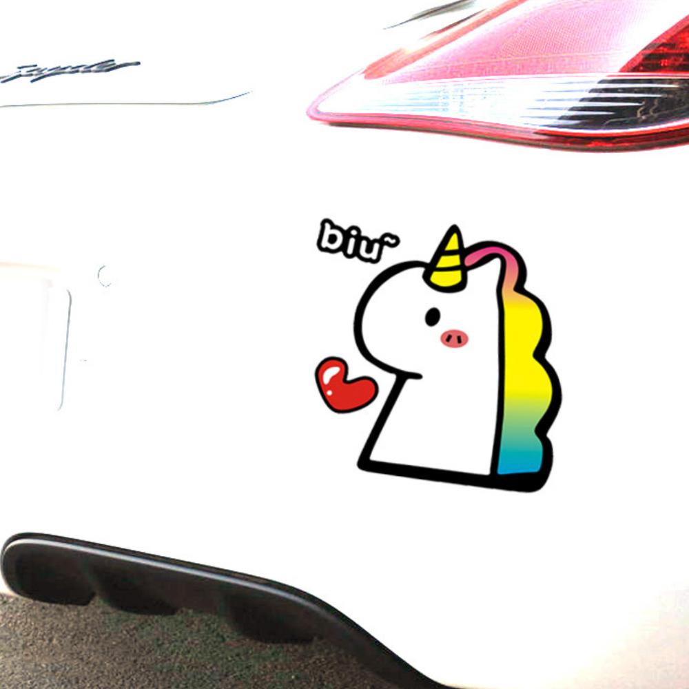 UNICORN BIU NGỰA SỪNG THẢ TIM - Sticker transfer hình dán trang trí Xe hơi Ô tô size 11x11cm