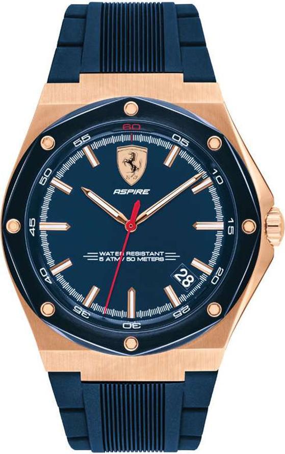 Đồng Hồ Nam Lịch Ngày PVD Vàng Hồng Dây Cao Su Ferrari 0830667 (44mm)
