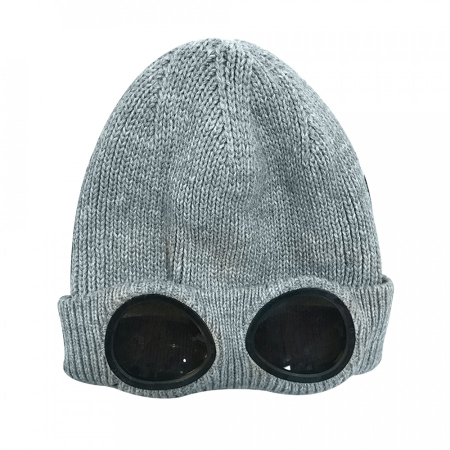 Winter Knitted Skull Hat Thickened Warm Stretchy Beanie Ski Cap Removable Glasses Plush Lining Double-Use For Men Women - Grey