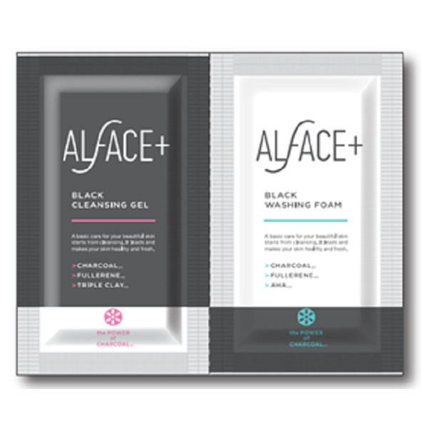 Túi mini kết hợp gel làm sạch và sữa rửa mặt ALFACE Black cleansing gel and Black washing foam