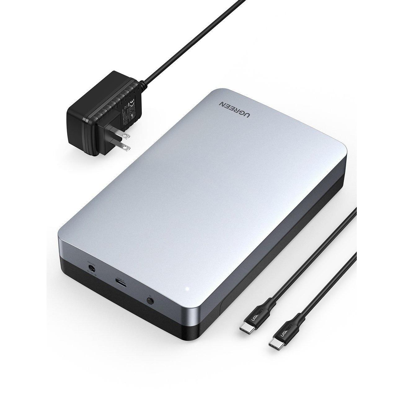 Hộp ổ cứng sata kết nối với máy tính kèm dây cáp 2 đầu C usb type c 3.1 gen2 3.5inch Ugreen 70797 CM301 Hàng Chính Hãng