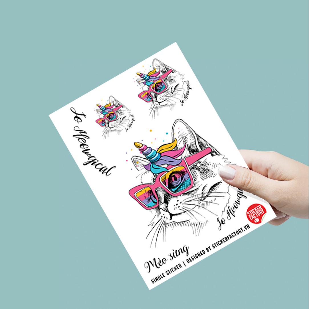 Mèo Sừng - Single Sticker hình dán lẻ