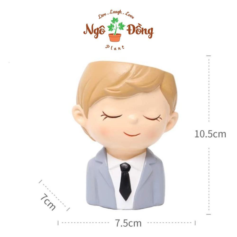 Chậu Cây Nhựa Mini Trang Trí Bàn Làm Việc Hình Chàng Trai Văn Phòng Decor - Combo 2 Chậu Dễ Thương
