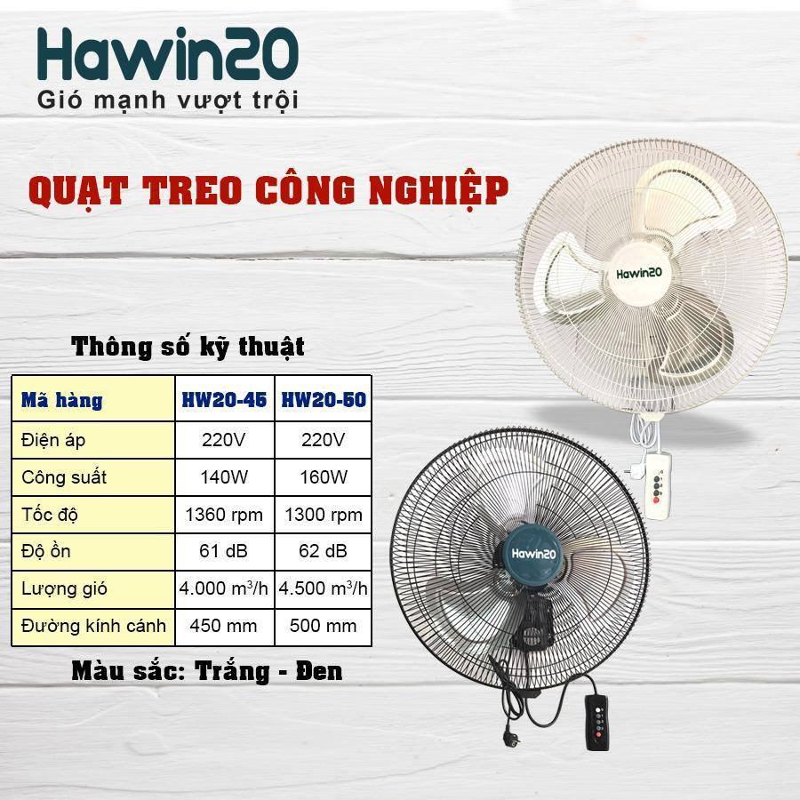 Quạt bán treo công nghiệp chính hãng Hawin HW20-50T màu trắng