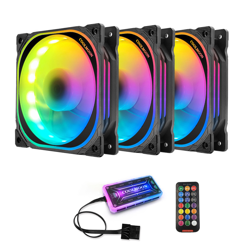 Bộ 3 quạt, Fan tản nhiệt case Coolmoon FS Led RGB - Hàng Nhập Khẩu
