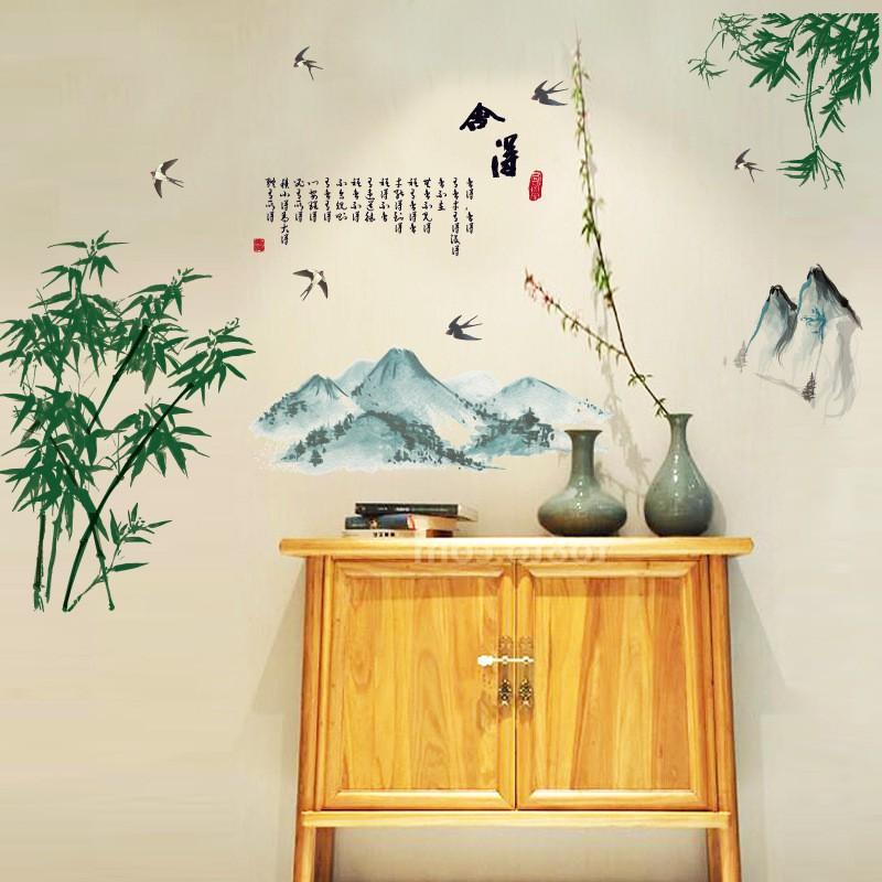 Decal dán tường nghệ thuật khung cảnh thiên nhiên cây tre SL1933