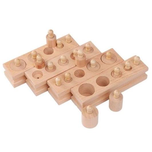 Bộ 4 thanh Núm trụ Montessori, đồ chơi Gỗ cảm quan