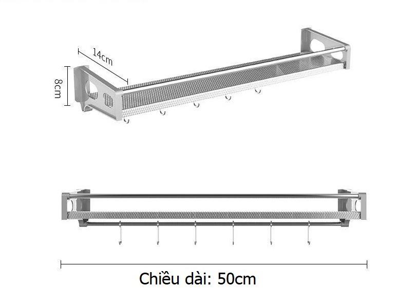 Kệ inox dán tường nhà bếp/nhà tắm 50 cm