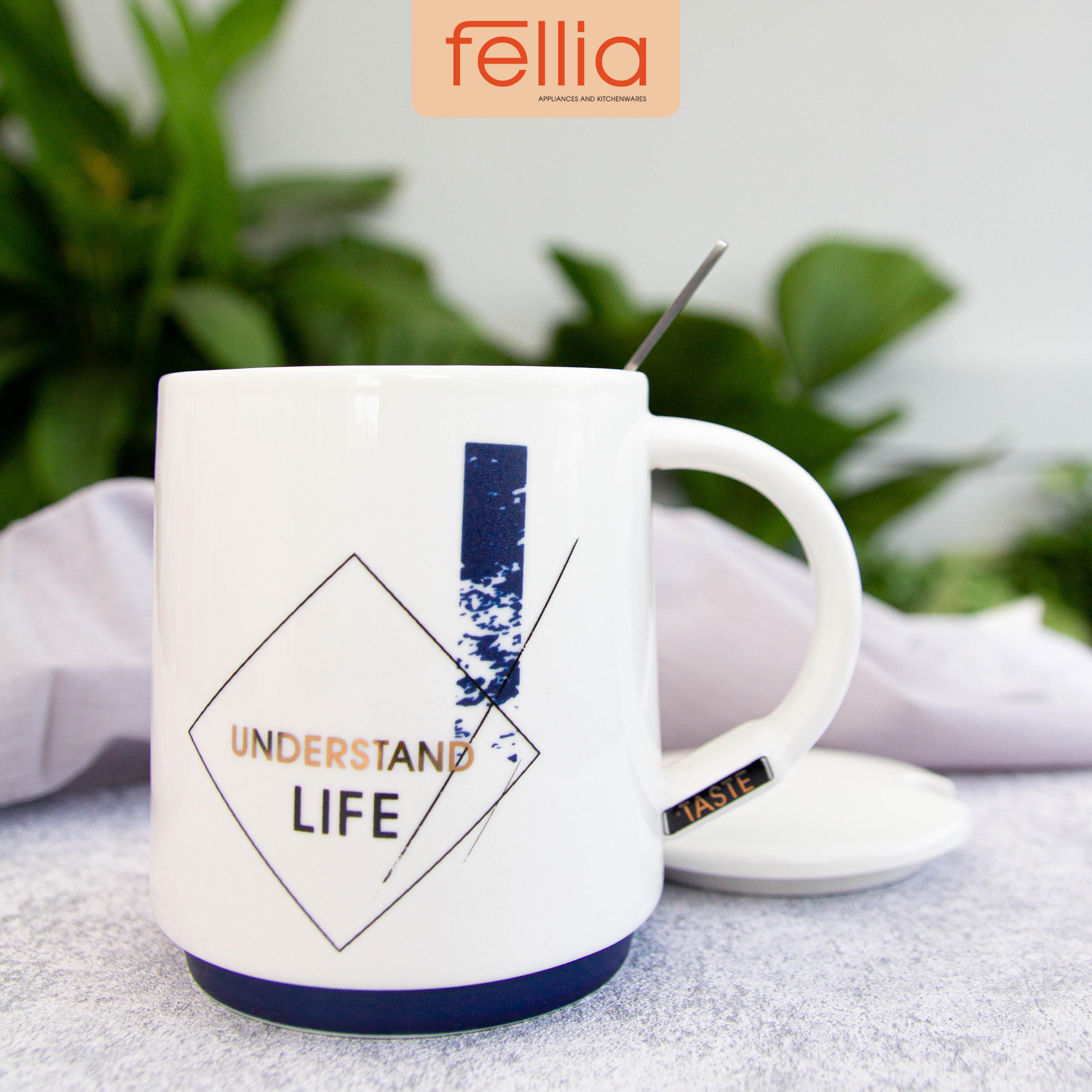 Ly sứ Understand Life Fellia cao cấp có nắp đậy, tặng kèm muỗng cho văn phòng, học sinh, sinh viên_FEL10640