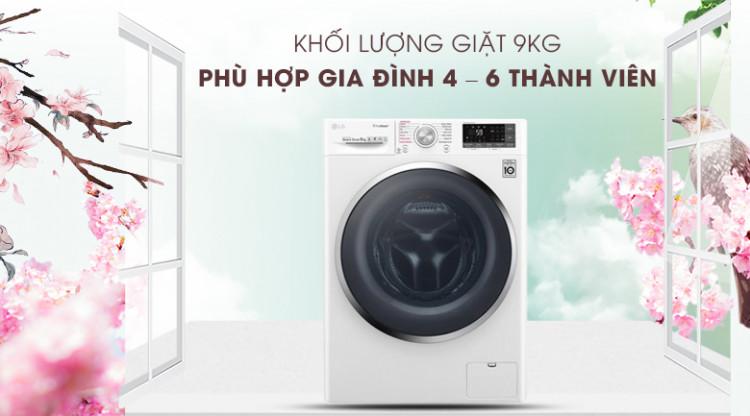 Máy giặt LG Inverter 9 kg FC1409S4W - Khối lượng giặt 9kg, phù hợp gia đình 4 – 6 người