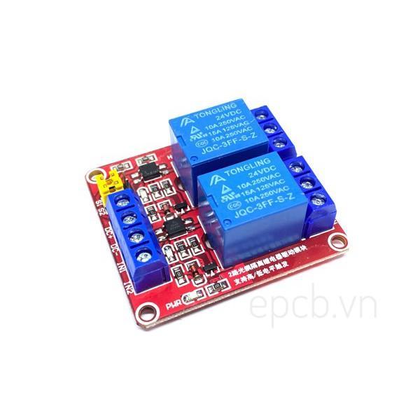 Mạch 2 Relay Opto Chọn Mức Kích High/Low 24VDC