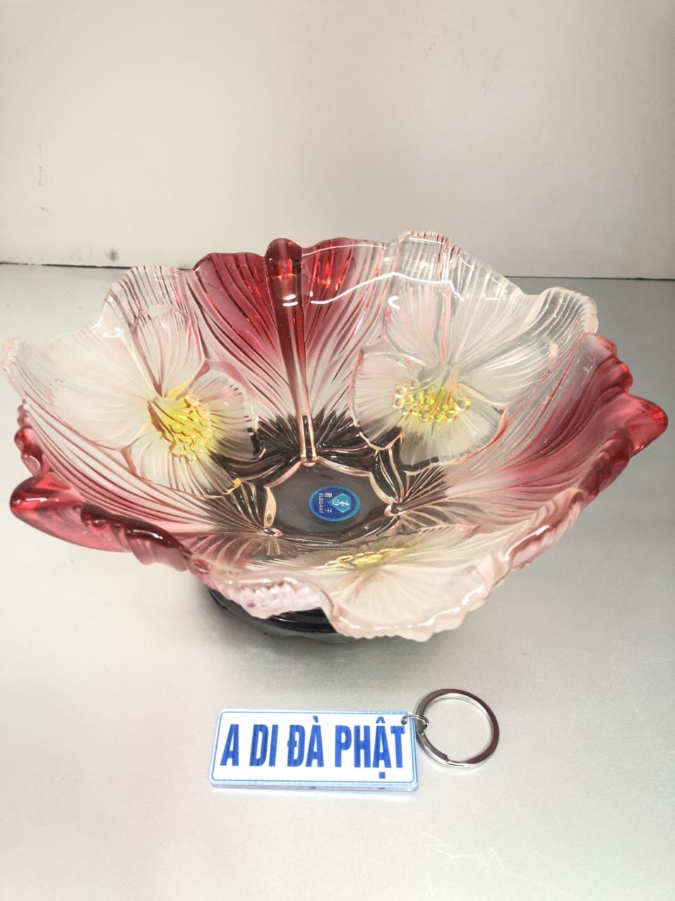 Bát thả Cúng hoa thuỷ tinh, dành cho ban thờ thần tài ( tặng kèm đế gỗ và móc chìa khoá A DI ĐÀ PHẬT, cầu  bình an ) - TL266