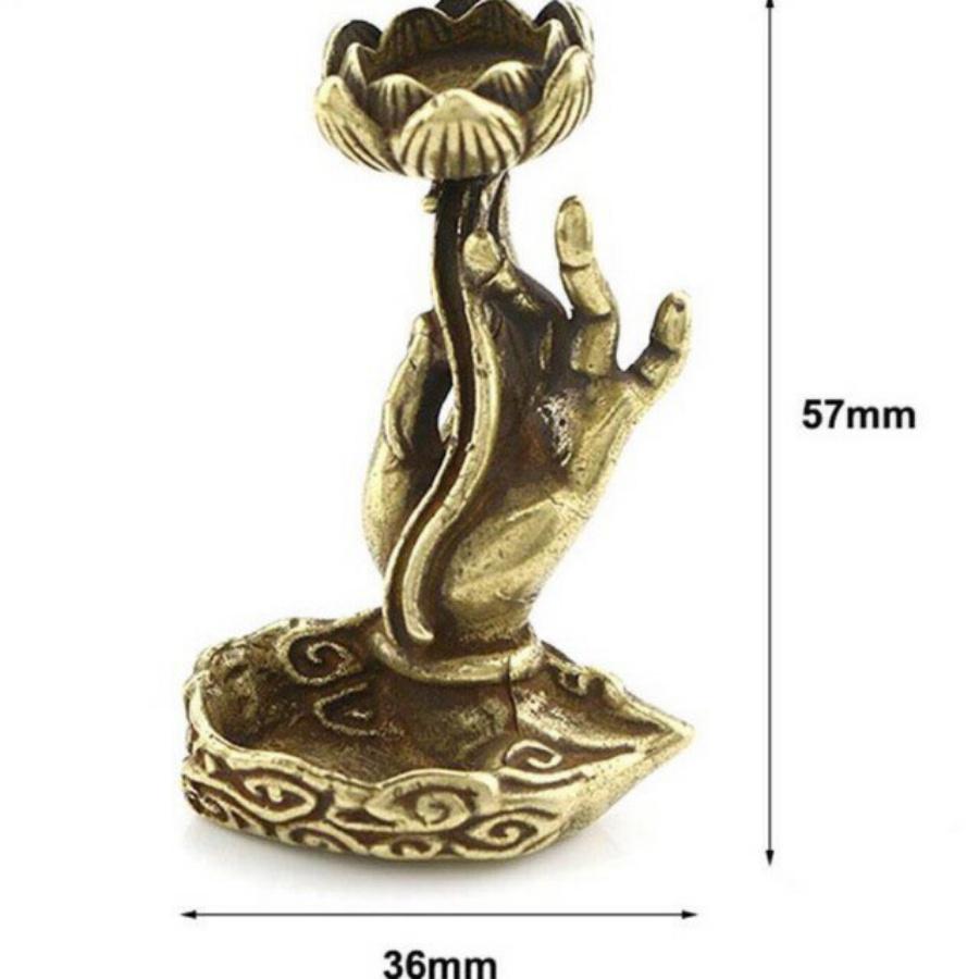 ĐẾ CẮM TRẦM TAY PHẬT CẦM HOA SEN MINI BẰNG ĐỒNG cao 5,7 cm